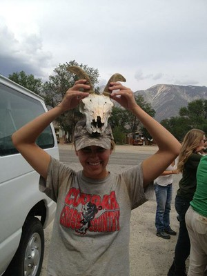 Tina and her mountain sheep skull.