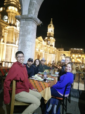 Arequipa's not a bad place to hang out. Dinner on the Plaza de Armas.