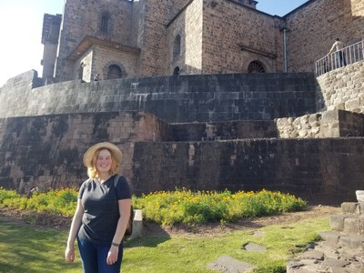 During the last week, students took short trips to visit other sites. Rachel is at the Coriconcha Inca Temple in Cusco.