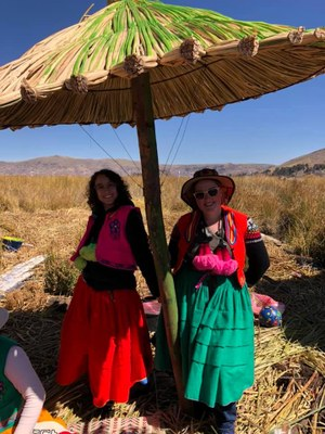 Izzy and Rachel modeling traditional clothes in the Uros islands.