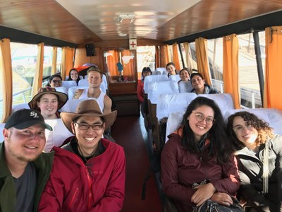On the second weekend in Puno, the students took a boat trip to the Uros Islands.
