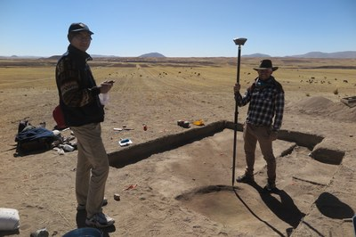 We carefully map the locations of features with GNSS units. Caleb and Ian mapping a feature here.